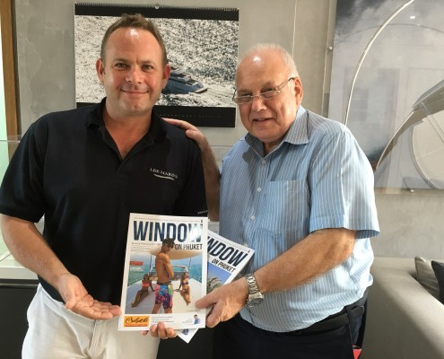 Peter Smith – well known in Phuket for his work with Image Asia publications is retiring. Peter stopped by Lee Marine where Martin Holmes, General Man