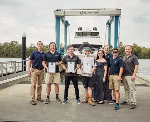 Riviera apprentice winners with the leadership team, from left: Chairman and owner Rodney Longhurst, Jack Gleadhill, Jayden Lee and Joel Neucom, Training Administration Assistant Keira Shanks, CEO Wes Moxey, Training Manager Adam Houlahan and Chief Operating Office Richard Appleby.